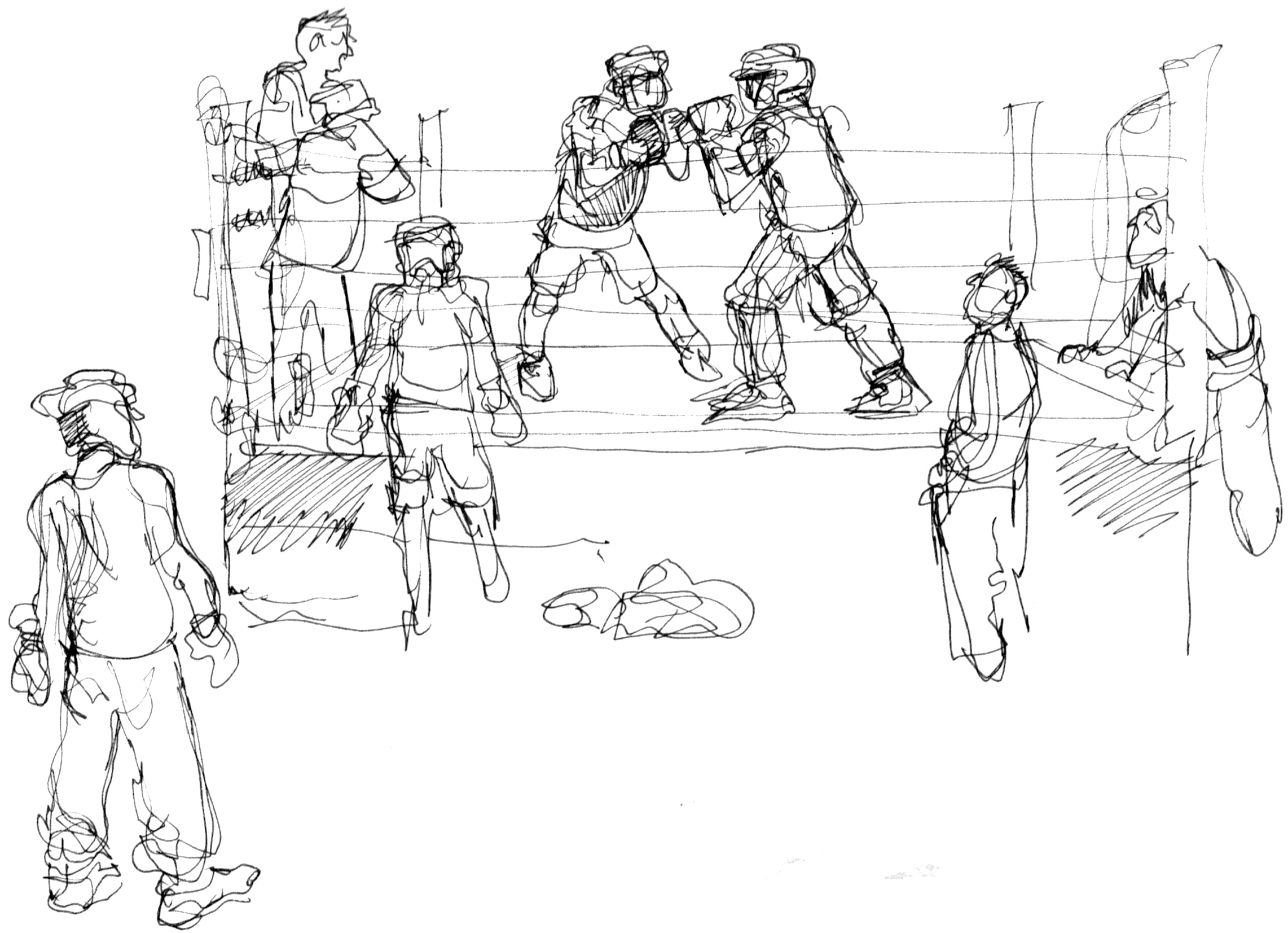 dais reportage drawing people in action boxing