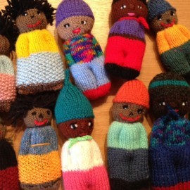 Dolls knitted to bring comfort to children who have been under stress either through displacement, illness or bereavement. and sent to a children's hospital.
