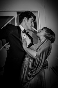 "Photo shows: Rhys Thomas and Jo Hinks in a suitably glamorous pose during rehearsals for Noel Coward's ""Private Lives"" which opens at Chester Little Theatre on Saturday 19th September."