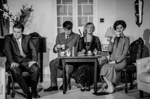 "Photo shows: (L-R) Des Hinks, Rhys Thomas, Jo Perry and Rhiannon White in a scene from Noel Coward's ""Private Lives"" which opens at Chester Little Theatre on Saturday 19th September."