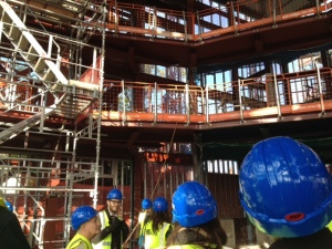 a look up at the seating area in the new theatre